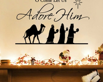 """O Come Let Us Adore Him (3 wise men) Christmas Wall Decal (35"""" X22"""")"""