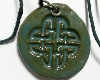 Celtic Knot Pendant Ceramic Green Stamped Necklace