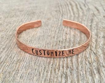 Custom Copper Cuff Bracelet, Personalized Cuff Bracelet, Custom Bracelet, Personalized Bracelet, Stackable Bracelet, Best Friend Bracelet