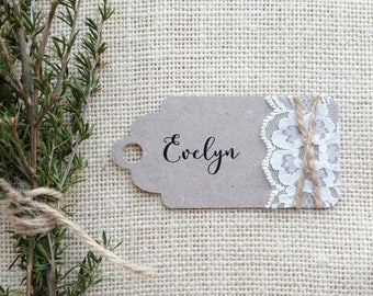Custom Printed Rustic Kraft Tag with Lace and String 9cmx4cm, Printed on 100% recycled kraft cardstock