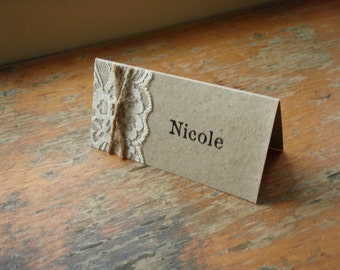 Rustic Place Card - Rustic lace and jute string Place Card able to be personalised