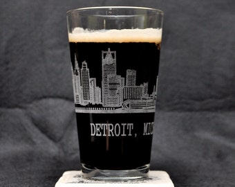 PAIR! of Downtown Detroit Michigan Skyline Full-Surround Pint Glasses (Custom Available) Made in USA!
