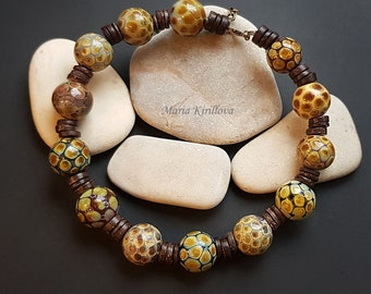 Earth Colours Glass Necklace, lampwork jewelry, murano glass, flamework, brown, elegant, organic necklace, blown beads, hollow, jewellery