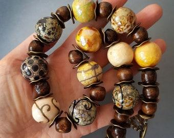"Glass Necklace ""Greek Tree"", lampwork jewelry, murano glass, flamework, wood, wooden, organic necklace, blown beads, hollow jewellery, brown"