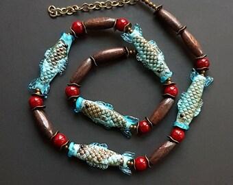 Fish Glass Necklace, lampwork jewelry, murano glass, flamework, blue, wood, organic necklace, turquoise, sea, feminine marine, glass art