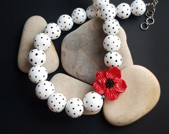 Retro Polka Dot 2 Glass Necklace, lampwork jewelry, murano glass, blown beads, red flower, elegant, black and white, retro, floral, jewelry