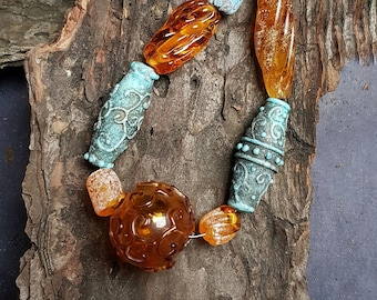 Old Baltic set of glass beads, 9.4 inches thread, reconstruction beads, roman glass, viking jewelry, hystorical beads, celtic, rustic murano