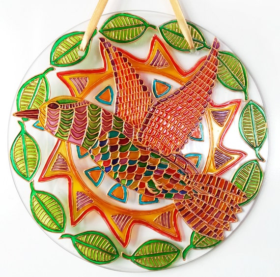 PDF Tutorial: Bird Suncatcher, glass painting, glass art, diy, stained  glass, painted glass, window decoration, handmade painting, teaching