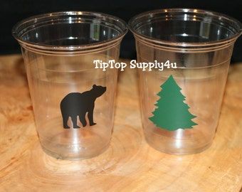 24 bear, evergreen tree, woodland 10,12 or 16 oz. clear disposable cup. Lumber jack,baby Shower,birthday,sprinkle, boy or girl, Hunter. C249