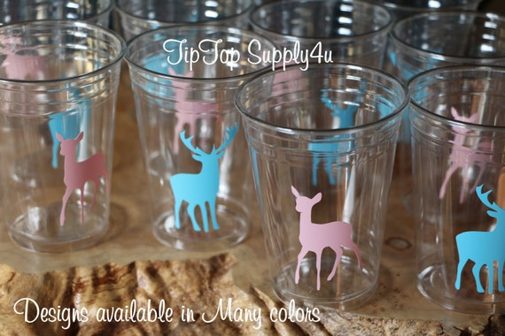 antlers Baby Shower,boy birthday Vinyl B-75 buck 24+ deer head clear party disposable cups or 20+ decals hunter Outdoor party