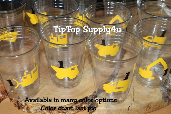 heavy equipment,dump truck boy.C-92-94 Traco 24+ Construction Birthday Party Cups or 20+ vinyl decals of each construction zone,dozer