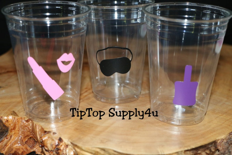 C-305 Birthday,B-day party decor,Spa birthday,girls night,manicure,sleep mask,nail polish 24+ spa party clear disposable party cups cup