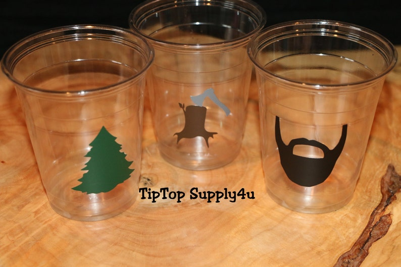 Baby shower Woodland evergreen,tree,tree stump,cup,shower decor,outdoor theme,ax.C-212-249-275-276 24+ lumber jack clear disposable Cups