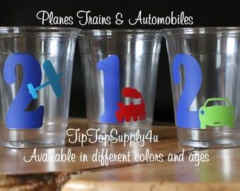 24 Birthday Plane, train, & Automobile Party 10 oz. 12 oz. or 16 oz. cups with vinyl stickers. Boy birthday, 1st birthday, party. B-152 C-91