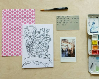anniversary gift   custom aluminum love note   mechanical heart    with print & envelope