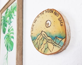 Wall Hanging | love you to the moon and back | Anniversary Gift