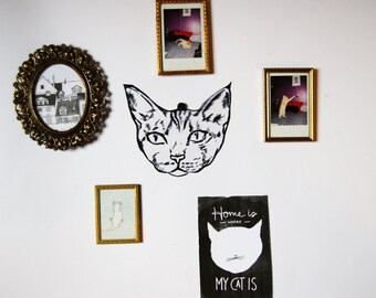 Upcycled Cat Wall Hanging / from Trash to Art