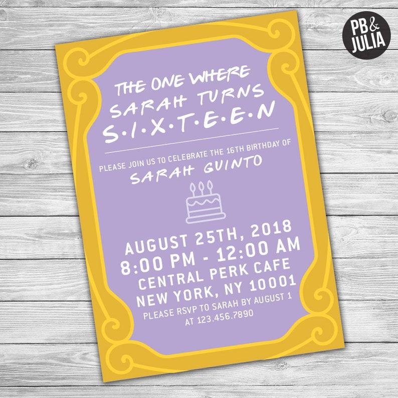 Friends TV Show Birthday Invitation Invite