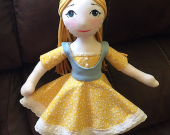 Handmade heirloom cloth doll, vintage doll, collectors doll, blond haired blue eyed doll