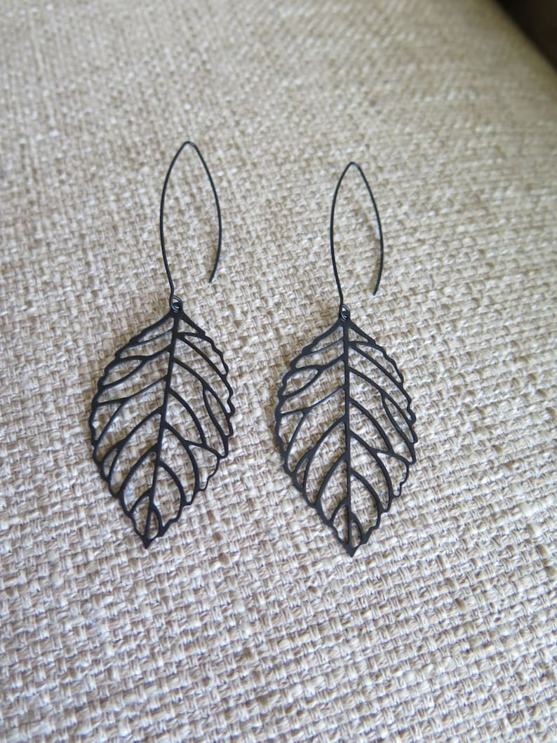 b7c1ec9d34915 black earrings, long earrings, leaf earrings, dark earrings, modern  earrings, lightweight earrings, black leaf earrings, goth earrings, gift