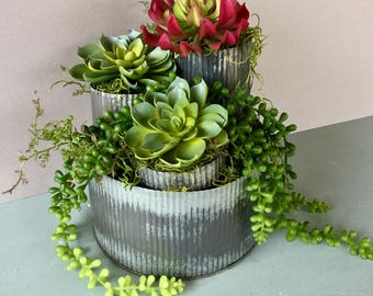 Metal Galvanized Planter, Rustic Planter, Corrugated Metal Planter, Rustic Decor, Rustic Wedding Decor, Joanna Gaines Decor, Fixer upper