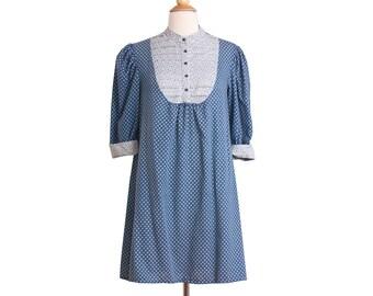 1970s Vintage Blue Mini Dress, 70s Cotton Ditsy Floral Boho Hippie Babydoll Dress Small Medium