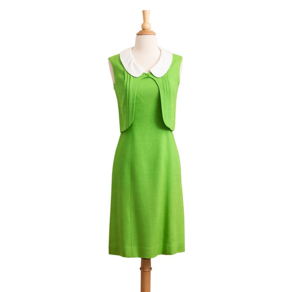 Vintage 1960s Linen Sheath Dress, Designer 60s Wig