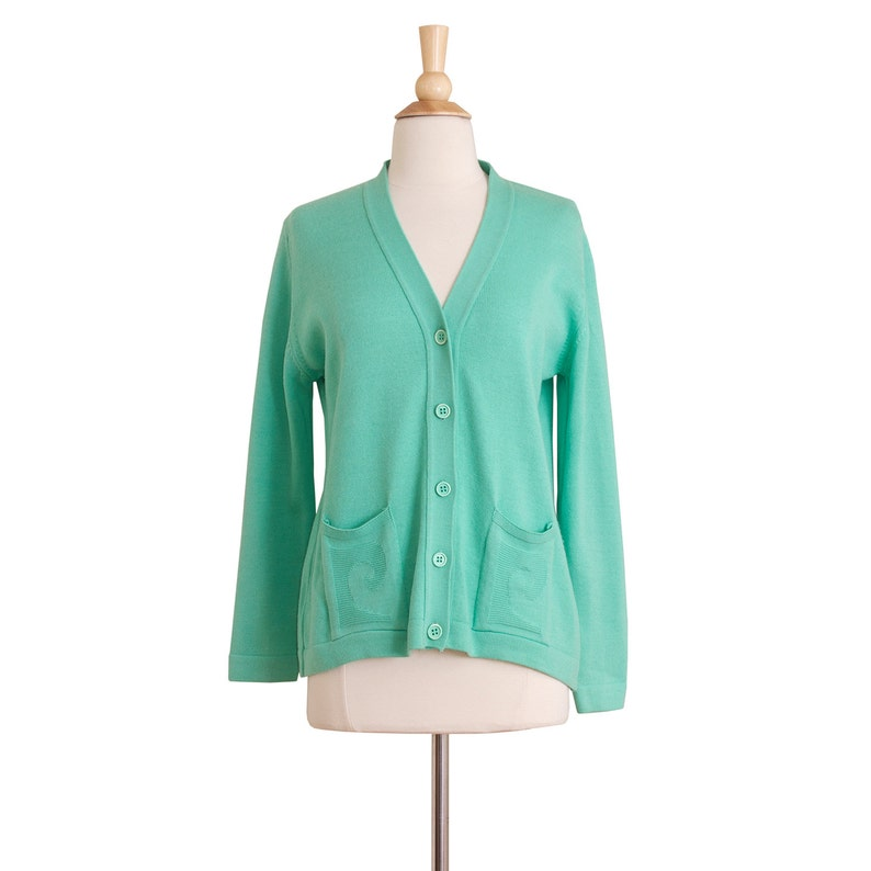 1960s Vintage Designer Seafoam Green Cardigan 60s V-Neck Cardigan by Pierre Cardin Medium Large