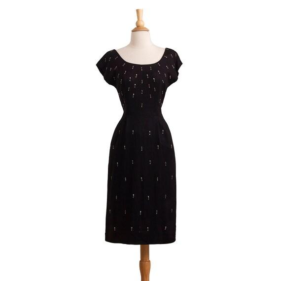 Vintage 1950s Cocktail Dress, 50s Studded Sheath D