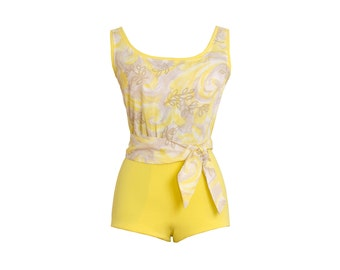 1950s Vintage Designer Yellow Swimsuit, Midcentury 50s Rare Crepe Watercolor Maillot Bathing Suit by Alix of Miami X-Small