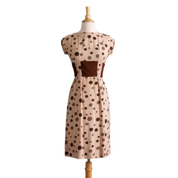 Vintage 1950s Linen Wiggle Dress, Linen 50s Polka