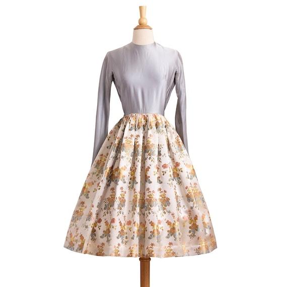 Vintage 1950s Evening Dress, Designer 50s 60s Flor