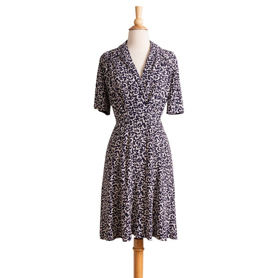 Vintage 1930s Day Dress, Floral 30s Rayon Dress Si