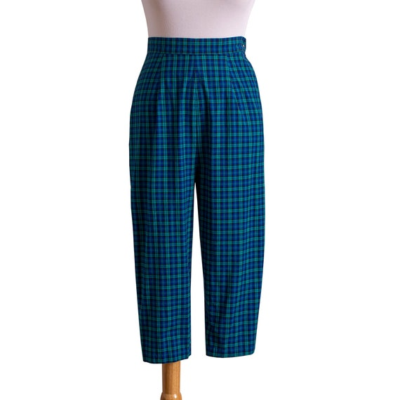Vintage 1950s Pedal Pushers, Blue and Green Plaid