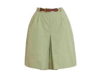 1960s Vintage Sage Green Skort, Mid-Century Retro 60s Spring Summer Chambray Cotton Shorts by Queen Casuals X-Small