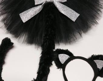 Cat costume, black cat costume,adult cat costume, baby cat costume, halloween cat costume, black cat tutu, girl cat costume, silver cat
