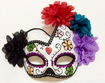 c1eb1e99e19c sugar skull masquerade mask, glitter sugar skull, sugar skull mask, day of  the dead mask, halloween mask, Dia de los Muertos mask