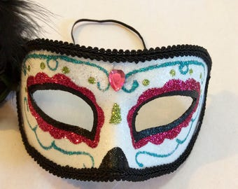 sugar skull masquerade mask glitter sugar skull sugar skull mask day of the dead mask halloween mask dia de los muertos mask