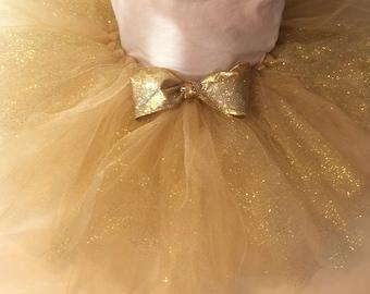 Gold tutu, glitter tutu, gold glitter tutu, newborn tutu, baby tutu, gold baby tutu, gold bow, chic tutu, chic baby