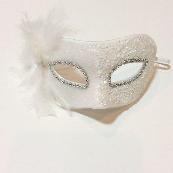 Bianco glitter travestimento maschera maschera bianca  63814189bc33