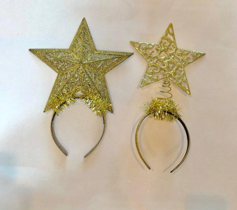 big gold Christmas star headband xmas tree topper headband  02819547b47