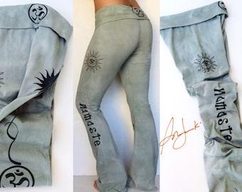 Yoga Pants, Long Leggings, Yoga Gifts, Tie Dye, Yoga Clothing, Full length Pant, Fold Over Waist, Flared leg, Tights, Gym Pants, Workout