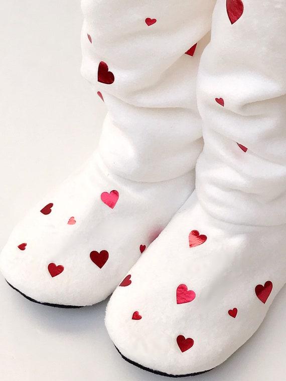 Coeur de pantoufles chaussettes de mocassin bottes  3f2fe78205f