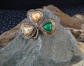 Watermelon Rainbow Glass Stone Pewter Celtic Scottish Brooch Pin Vintage Style