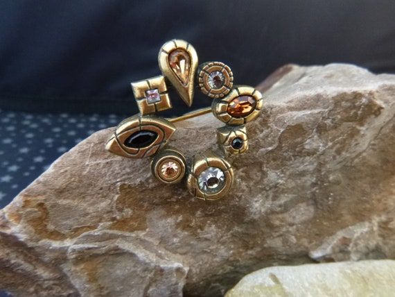Patricia Locke Geometric Modernist Style Vintage Brooch with Crystals and Semi-Precious Stones