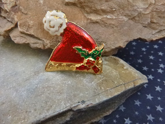 Mrs. Claus Stylish Vintage Santa Cap Brooch with Holly Berries and Puffy Top