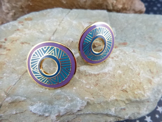 "Laurel Burch Vintage ""Kisumu"" Teal and Purple Disk Style Cloisonné Enamel Clip On Earrings"