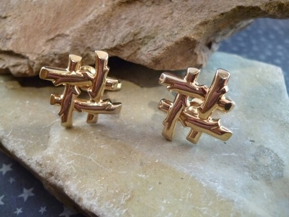 Don't Fence Me In | Hickok Western Rustic Fence Post Style Cuff Links | Vintage Cufflinks circa l960s