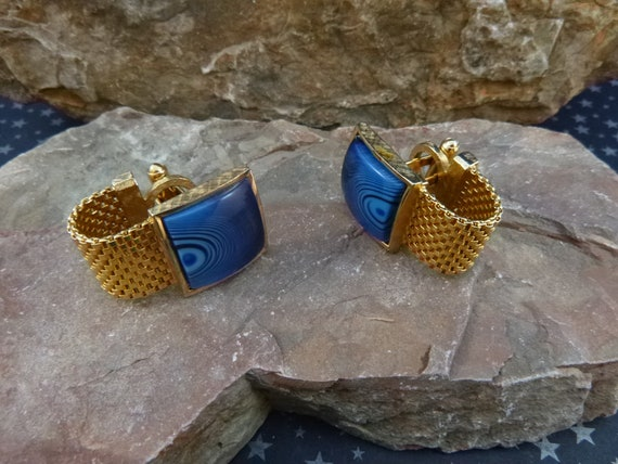 1960s Dante Vibrant Blue Swirl Square Vintage Mesh Wrap Cuff Links | Mid Century Cufflinks