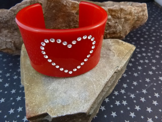 Red Heart Vintage Cuff Bracelet | 1970s Lucite Bracelet with Rhinestones | Standout Valentine's Day or Any Day Rhinestone Heart Bracelet